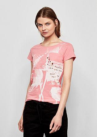 majica iz plamenaste preje z umetelnimi elementi