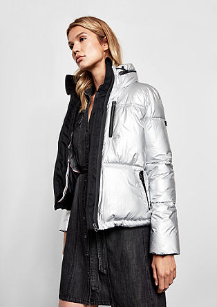 Puffer Jacket im Metallic-Look