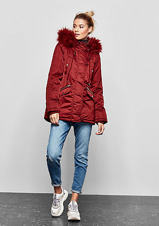 Short coat with a faux fur panel from s.Oliver