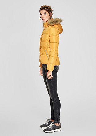 Fitted quilted jacket with faux fur from s.Oliver