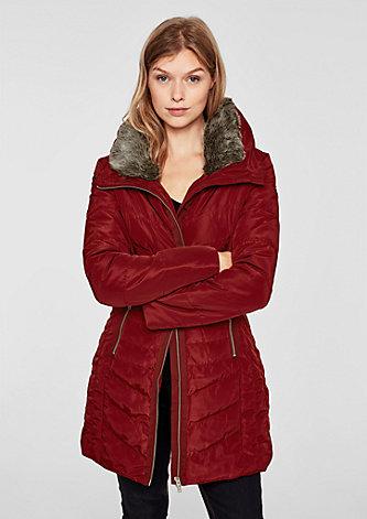 Steppmantelmit Fake Fur-Kragen