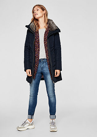 Quilted coat with a faux fur collar from s.Oliver
