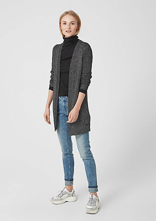 Melierter Long Cardigan