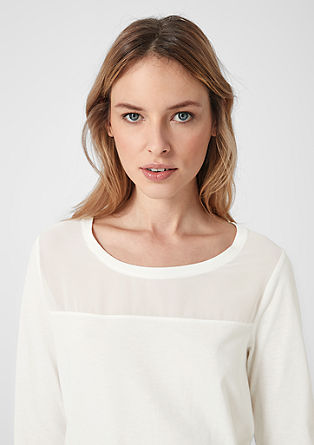 Jersey top with a chiffon yoke from s.Oliver