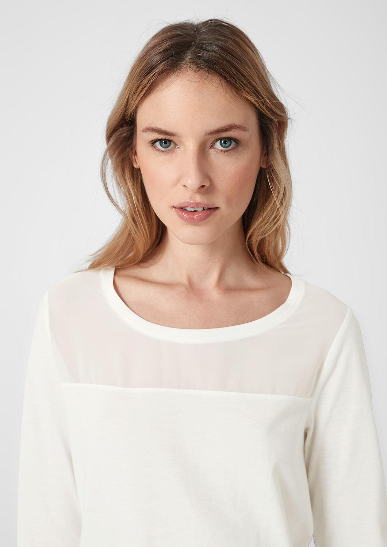 s.Oliver - Jerseyshirt mit Chiffon-Passe - 1