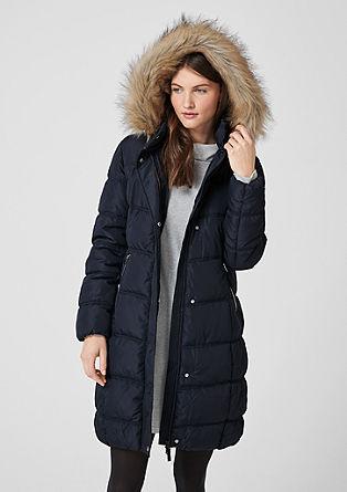 Gewatteerde mantel met rand van imitatiebont