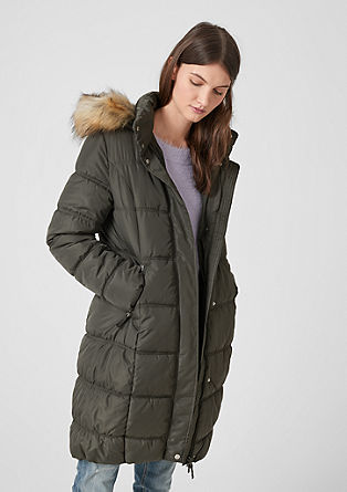 Steppmantel mit Fake Fur-Blende