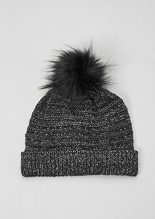 Glitter knit hat with faux fur from s.Oliver