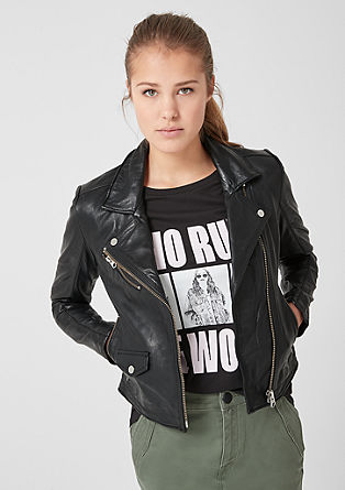 Leather biker jacket from s.Oliver