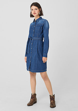 Denim dress with a press stud placket from s.Oliver