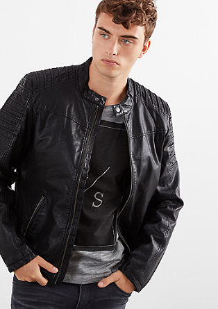 Biker jacket with topstitching from s.Oliver