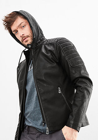 Fake Leather-Jacke mit Wattierung
