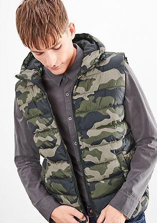 Prošívaná vesta s kapucí
