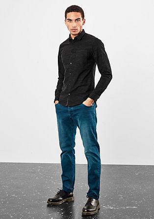 Extra Slim: Meliertes Baumwollhemd