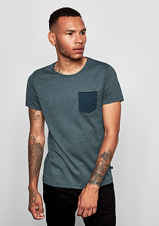 Melange T-shirt with a breast pocket from s.Oliver