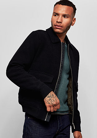 Padded wool fleece bomber jacket from s.Oliver