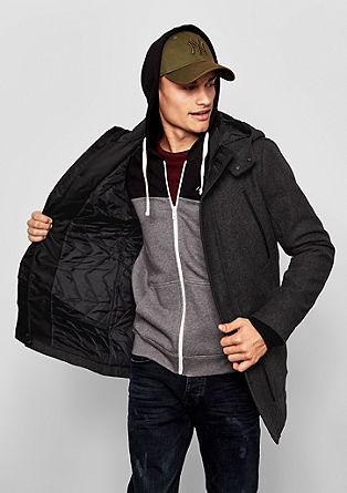 Vatovaný kabát spodílem vlny
