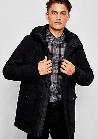 Wattierter Mantel mit Wollanteil