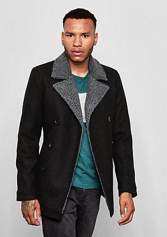 Mantel mit Kunstfelldetails