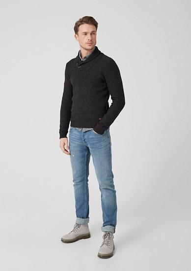 Pullover mit geripptem Schalkragen
