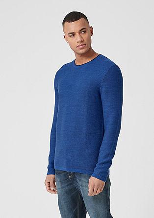 Melírovaný pulovr z žebrové pleteniny