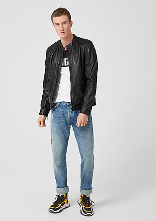 Biker jacket in genuine leather from s.Oliver