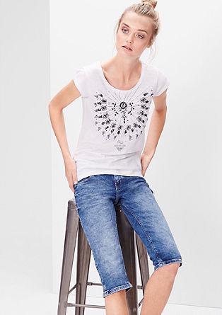 Slim: capri-jeans met een used look
