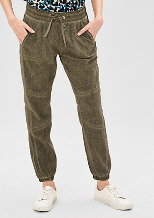 Ankle: loose linen blend trousers from s.Oliver