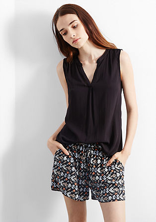Viskose-Shorts mit Minimal-Print