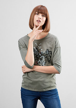 Printed T-shirt with studs from s.Oliver