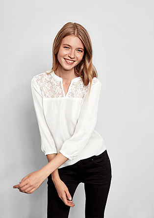 Satin blouse with lace from s.Oliver