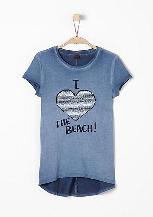 Shirt mit Wendepailletten-Herz