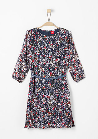 Floral chiffon dress with a belt from s.Oliver