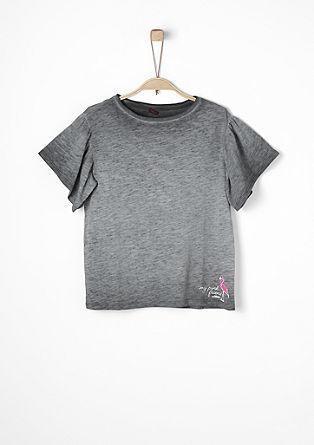 Garment Dye-Volantshirt mit Flamingo