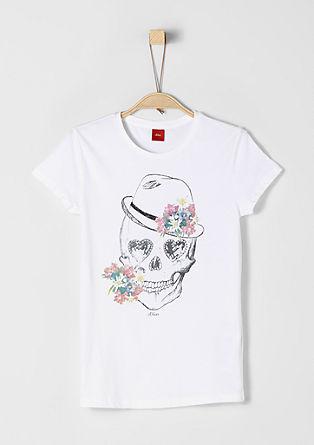 T-Shirt mit Skull und Glitzersteinen
