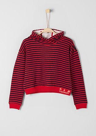 Gestreepte boxy hoodie