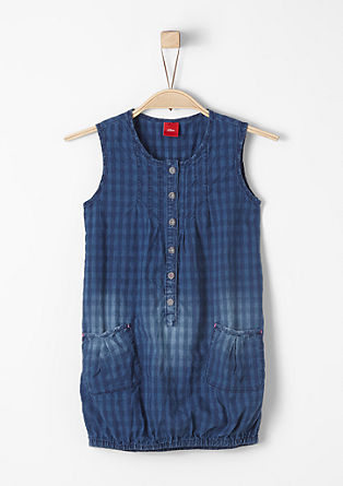 Denim dress with a check print from s.Oliver