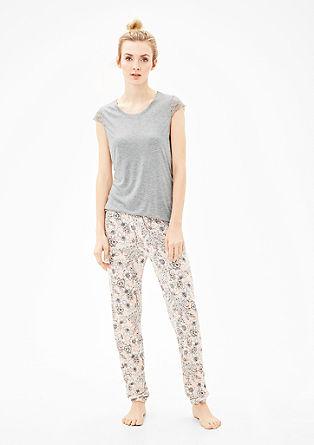 Pyjama met korte mouwen en kant