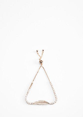 Roséfarbene Armkette mit Feder