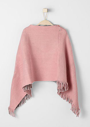 Knit poncho with fringing from s.Oliver