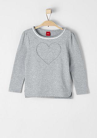 Glitzer-Langarmshirt mit Herz