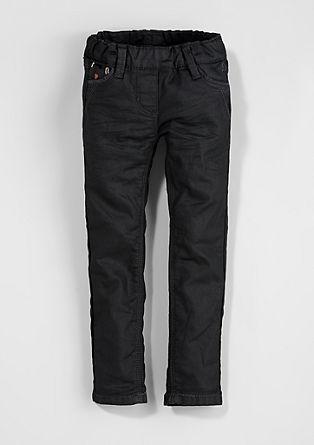 Treggings: Bestickte Glanz-Jeans