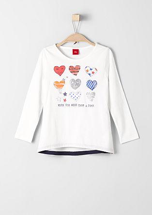 Langarmshirt mit Glitzer-Print