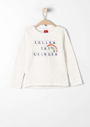 Meliertes Langarmshirt mit Print