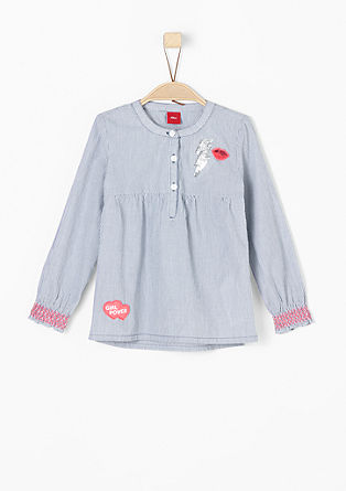 Striped blouse with appliqués from s.Oliver
