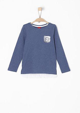 Shirt mit Pailletten und Rüschensaum