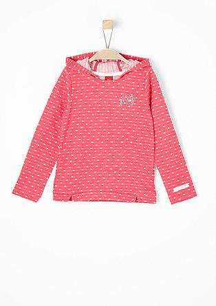 Hooded top with a polka dot print from s.Oliver