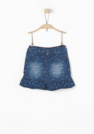 Denim rok met print all-over