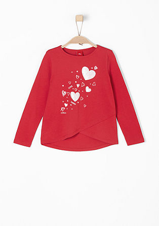 Wrap-over top with glittery hearts from s.Oliver