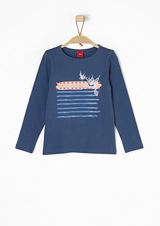 Langarmshirt mit Glanz-Print